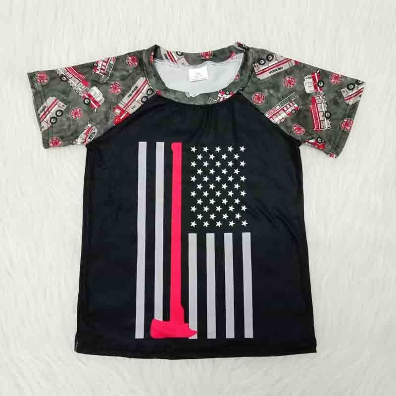 Тонкая детская одежда красного цвета в американском стиле футболка с короткими рукавами для маленьких мальчиков повседневная детская футболка с изображением пожарной машины футболка для девочек