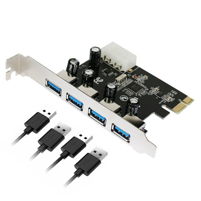 4 puertos USB 3,0 PCI-e Tarjeta de expansión PCI express PCIe adaptador USB 3,0 hub 4 puertos USB 3 0 PCI e PCIe express 1x USB3 agregar en tarjetas