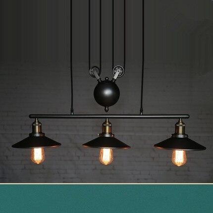Lámpara de polea de hierro Vintage para decoración del hogar, E27 Edison,...