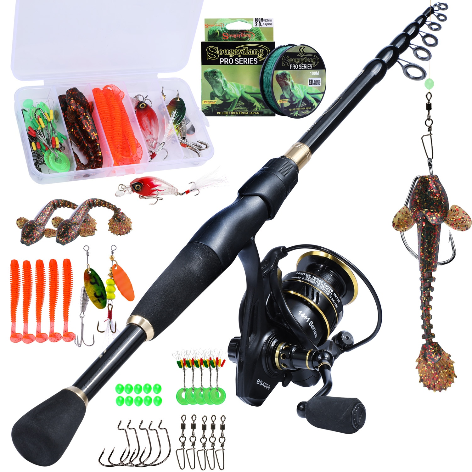 high quality 1 65m telescopic lure rod set casting spinning rod fishing reel fishing rod reel line lures hooks portable bag Sougayilang Fishing Rod and Reel Combo Set with Telescopic Spinning Rod and Spinning Reels Fishing Line Lure Hooks Full Kit