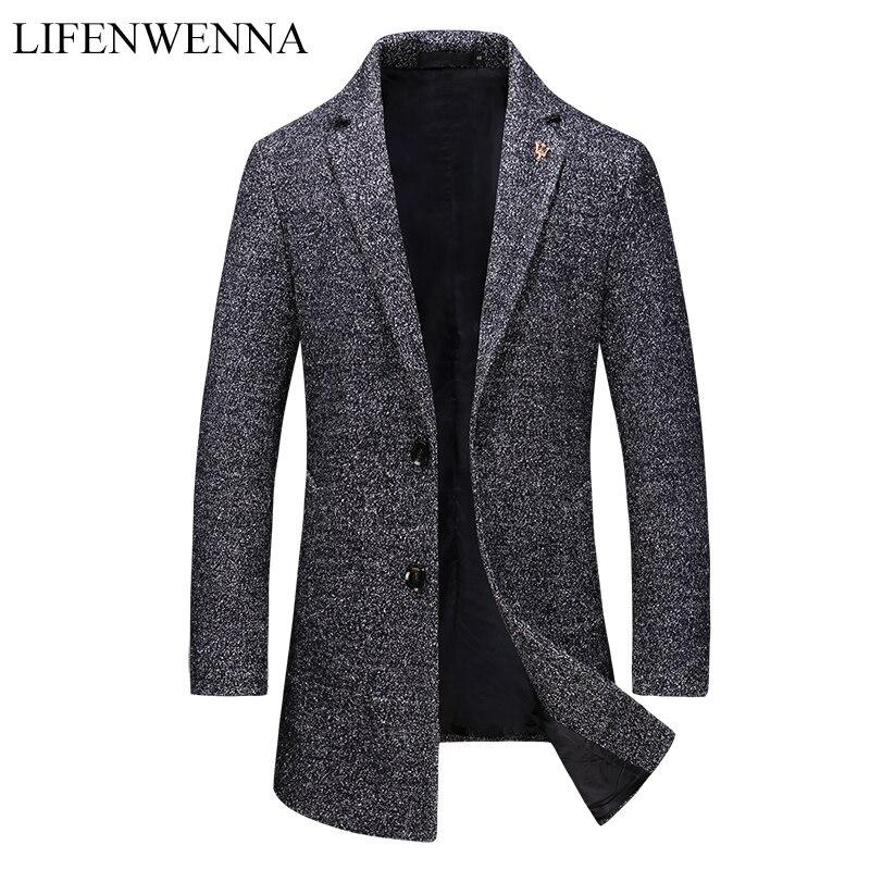 2019 חדש סתיו אופנה מותג מעיל Mens מעיל צמר אחת חזה עסקי מעילי Mens בגדי מגמת אמצע ארוך טרנץ מעיל גברים