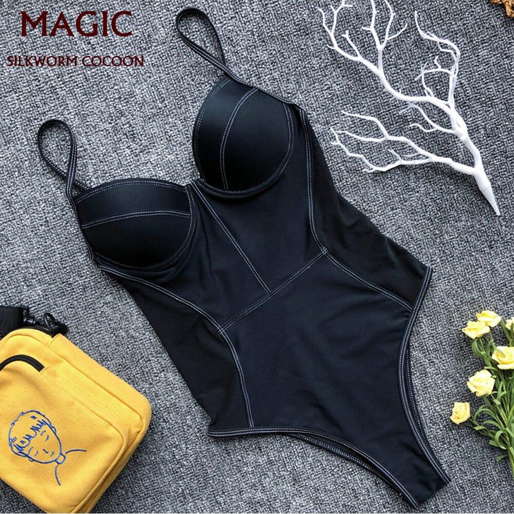 Женский слитный купальник пуш-ап, черный мягкий сетчатый купальник с открытой спиной, купальный костюм