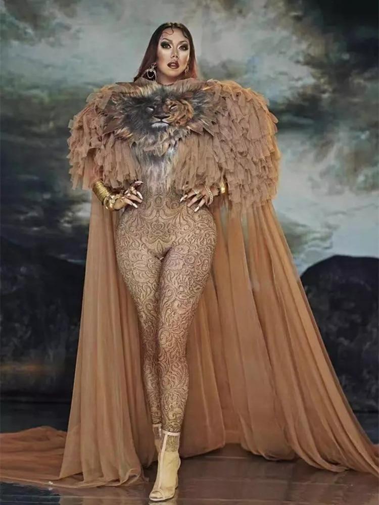 زي الملكة التنكري ، زي النمر ، بذلة ، عباءة طويلة ، للمرأة ، المغنية ، المسرح ، مثير ، ملهى ليلي ، حفلة موسيقية ، عرض ، الملابس