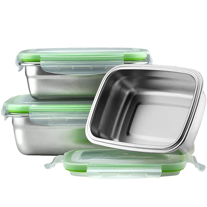 صندوق غداء من الفولاذ المقاوم للصدأ 304 ، حاوية تخزين طعام صديقة للبيئة ، ثلاجة محمولة متعددة الأغراض ، صندوق درج مانع للتسرب