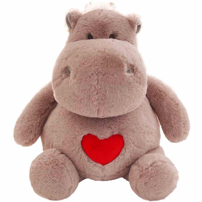 Kawaii Soft Love Heart Hippo Plush Doll Big Stuffed Cartoon Hippos Baby Toy Doll for Children Gift Deco 20inch 50cm DY50617