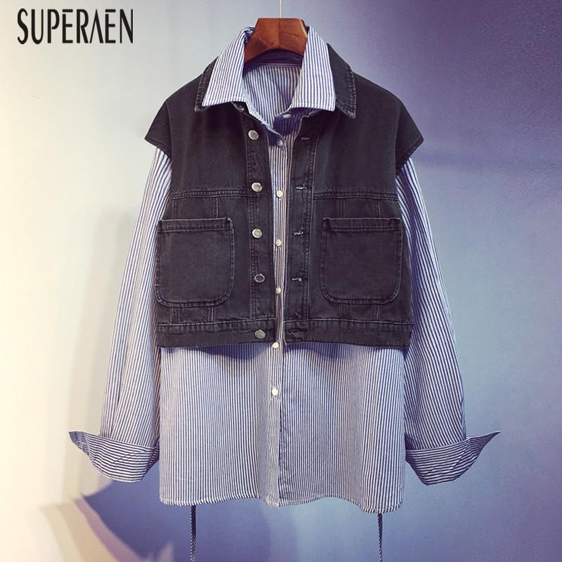 SuperAen Spring 2020 New Korean Style Denim Splice Shirts Women Wild Casual Fashion Ladies Blouses and Tops Long-Sleeve Shirts