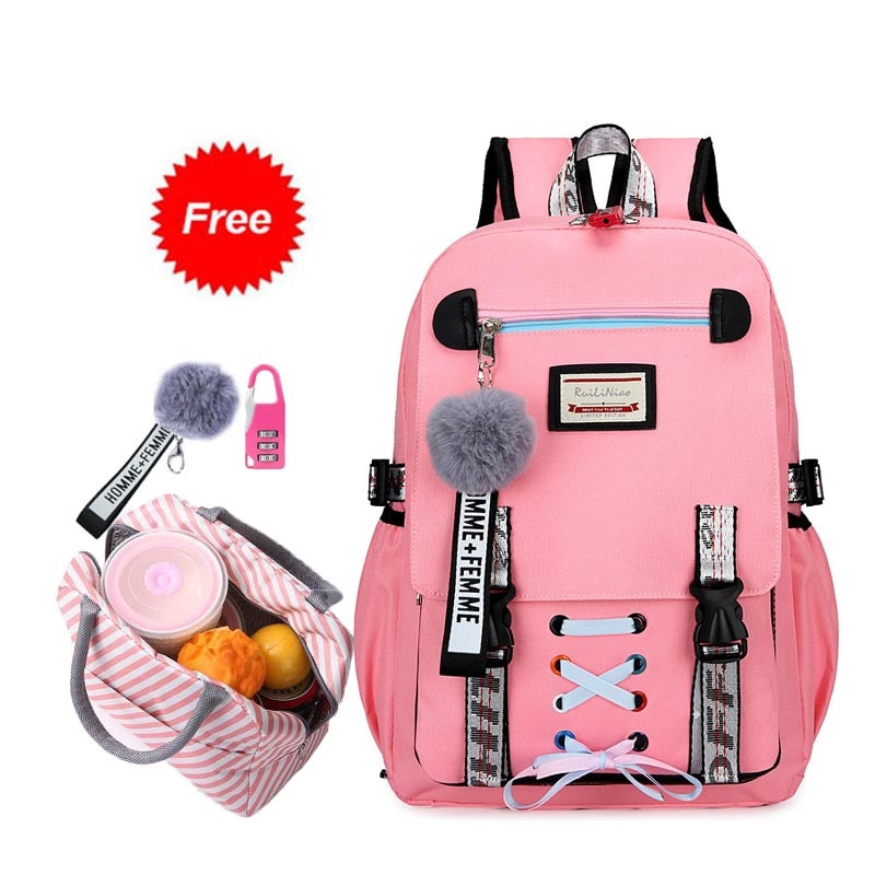 New 2021 school bags for teenage girls with lock Anti theft backpack women book bag junior high scho