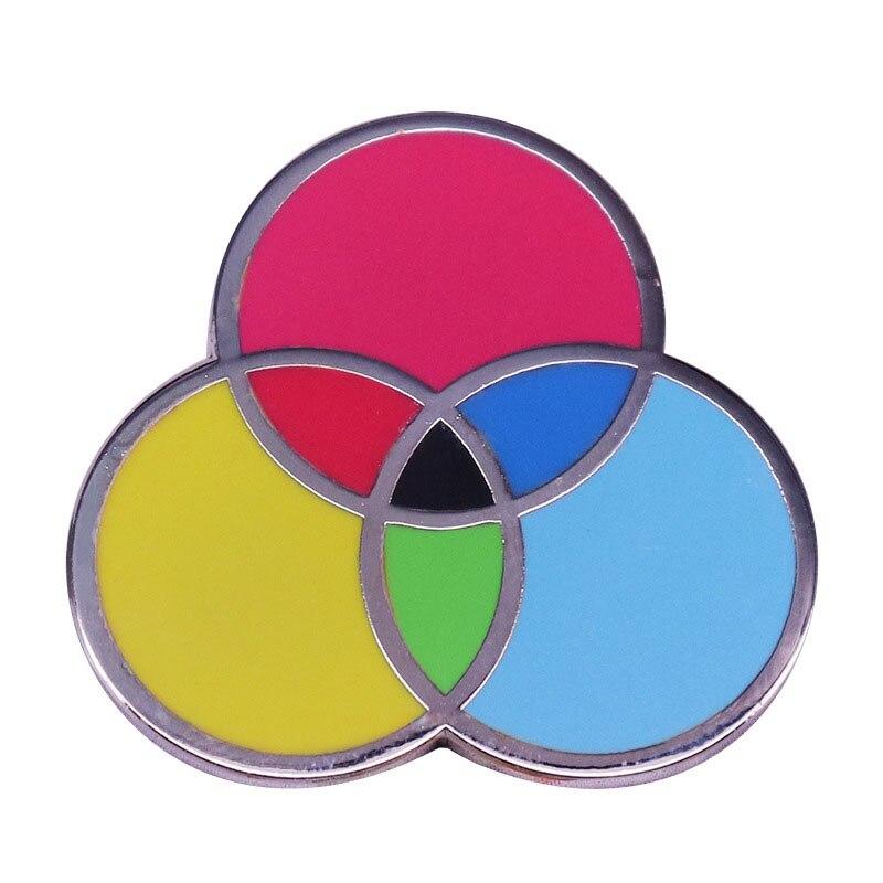 Tres colores principales esmalte alfiler y broche tinta Swatch pintura arte gráfico Lapel Pin Geek regalo