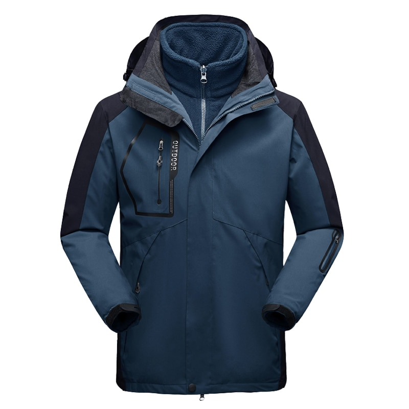 Мужская лыжная куртка 2 в 1, теплая зимняя куртка, уличная спортивная ветрозащитная водонепроницаемая куртка, куртка для кемпинга, пешего ту...