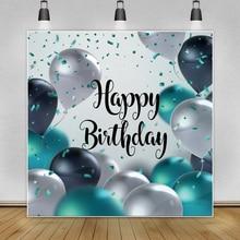 Laeacco синие воздушные шары с днем рождения фон для фотосъемки с изображением вечерние баннер портрет фотосессия фон для фото студии