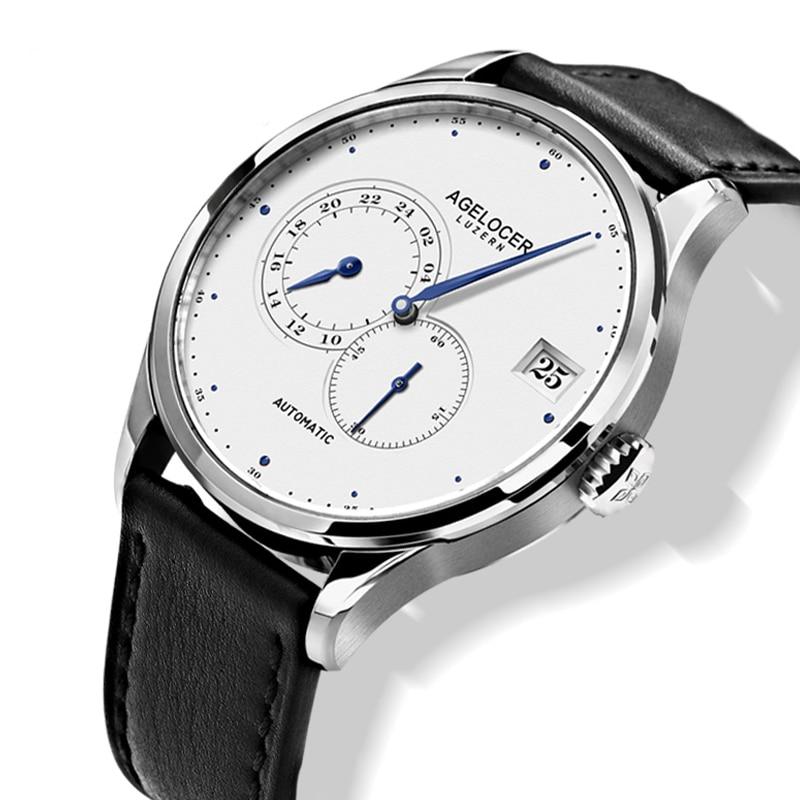 2020 nuevo reloj automático Formal de negocios Casual cristal de zafiro 5ATM correa de cuero negro de acero inoxidable para hombre reloj de pulsera
