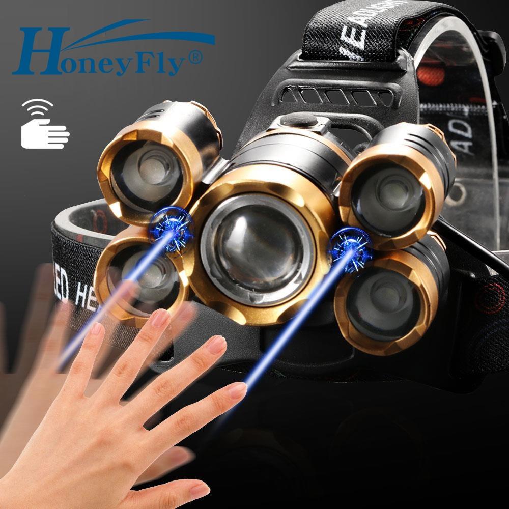 HoneyFly 7000 lúmenes LED faro 5 LED T6 IR Sensor linterna cabeza luz 18650 batería para Camping pesca