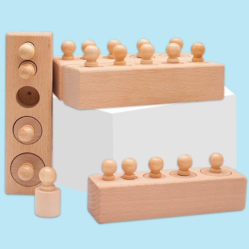 Материалы Монтессори, Цветные Блоки цилиндров и карты, сенсорные игрушки, обучающие игрушки для детей, игрушки Монтессори A1864H
