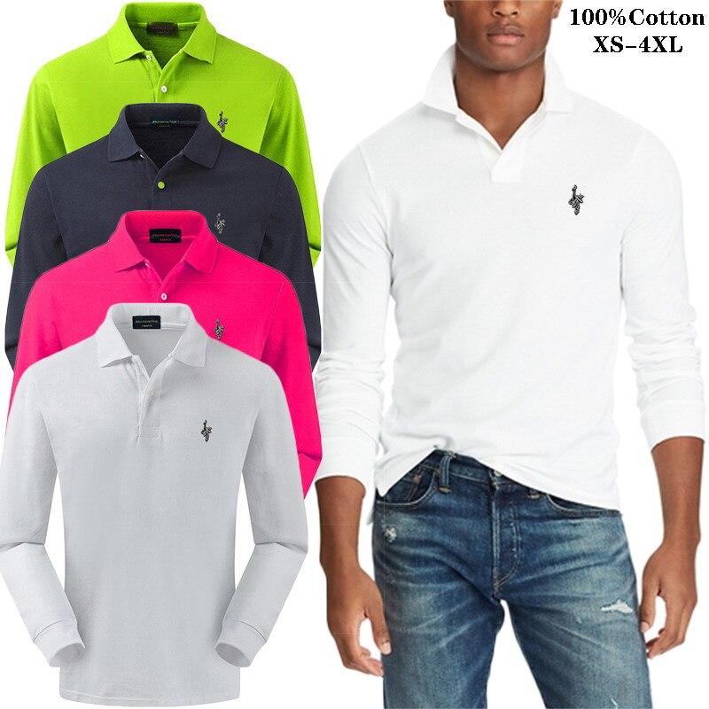 Camisa Polo bordada de color sólido de alta calidad con diseño de pavo real Digital, polo informal de manga larga para hombre