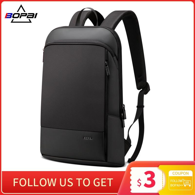 BOPAI Slim Laptop Backpack Men 15.6 Inch Pack Office Work Women Bagpack Business Anti Theft Uni Black Thin Light Backpacking