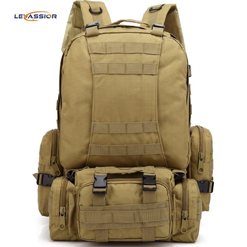 Mochila táctica de gran capacidad 55L para hombre impermeable Oxford Outdoor Camouflage Sport Military bagpack para viajes turísticos