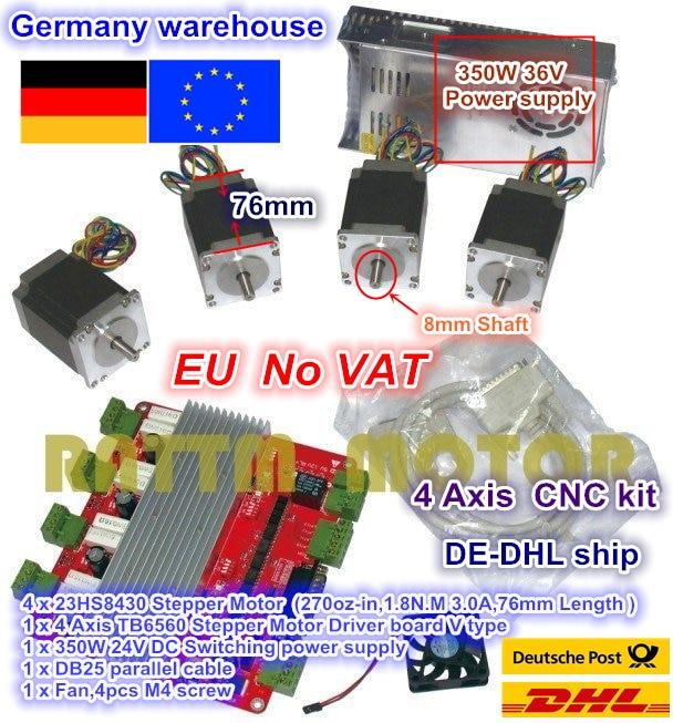 ЕС. DE Бесплатная 4 оси набор контроллеров CNC 4 шт. NEMA23 шаговый двигатель 270oz-in 3A & 4 оси TB6560 драйвер платы и 350W 24V источника питания