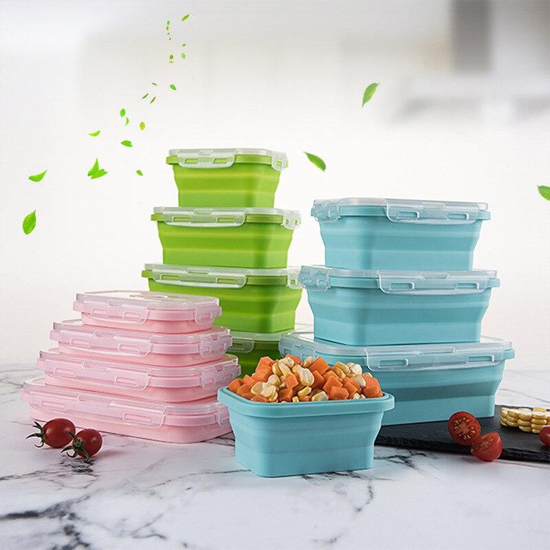 Коробка для завтрака, складная силиконовая коробка для бенто, складная силиконовая коробка для еды, посуда, контейнер для продуктов миска д...