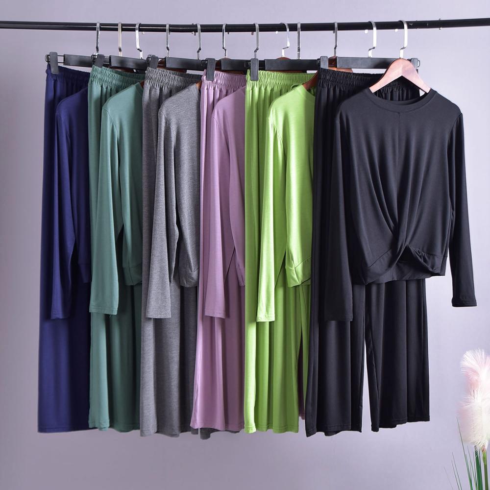 Pijama de algodón Modal para mujer, conjunto de pijamas de manga larga para mujer, ropa de hogar de otoño e invierno, pijama casual de pantalón largo para dormir para mujer