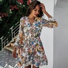 Deenor Chiffon Floral Print Dress Summer Women Elegant Long Sleeve Vintage Mini Dresses Boho Beach C