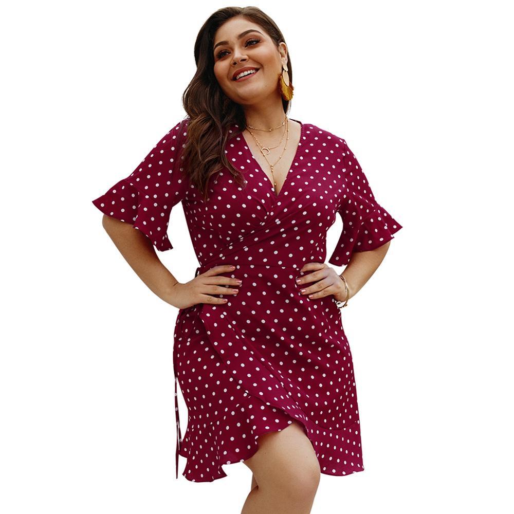 Vestido 4XL de talla grande para mujer, ropa de verano a la moda con cuello de pico, vestido bohemio de manga corta y gran tamaño, vestidos de lunares
