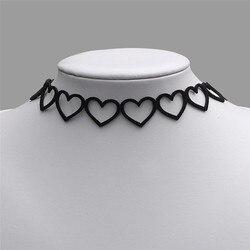 Coração de veludo gargantilha punk vintage gótico colar de corrente colar charme senhora jóias