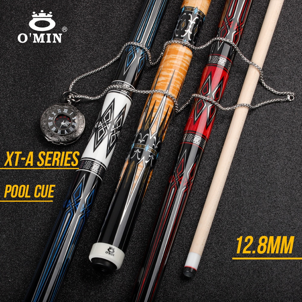 OMIN XF-A Pool Cue Stick 12.8mm Tip Premium Leather Grip Carbon Tube Inside Radial Joint Adjustable Weight System Kit Billiard