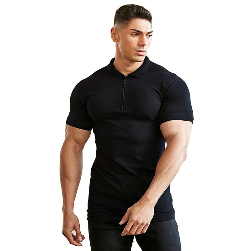 Sólido 2020 slim moda de los hombres polo camisa casual de moda lisa de manga corta de alta calidad slim polo camisa de la aptitud de los hombres