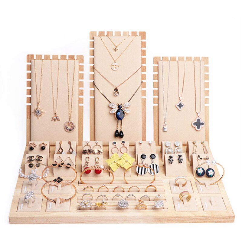 Jewelry Display Luxurious Necklace Exhibition Props Pendant Necklace  Stand Solid Wood Ring Earrings Seat Holder Set Combination