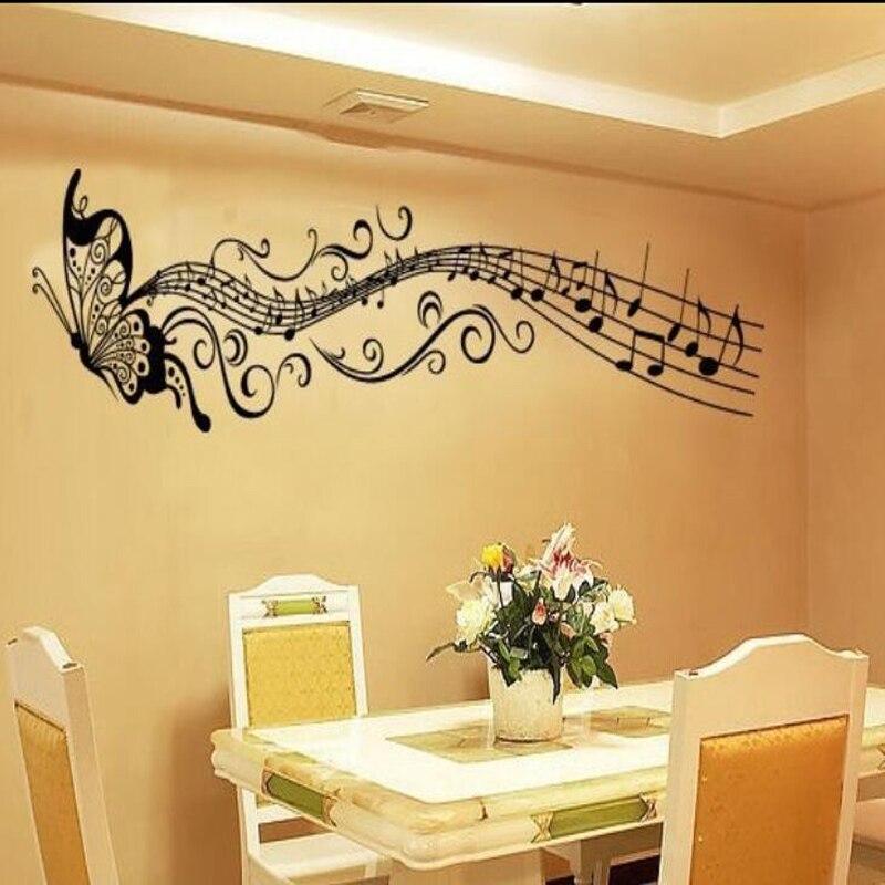 Pegatina de mariposa de música diy autoadhesiva impermeable para dormitorio, sala de estar, sofá, decoración del hogar, Adhesivo de pared de pvc, mural de vinilo