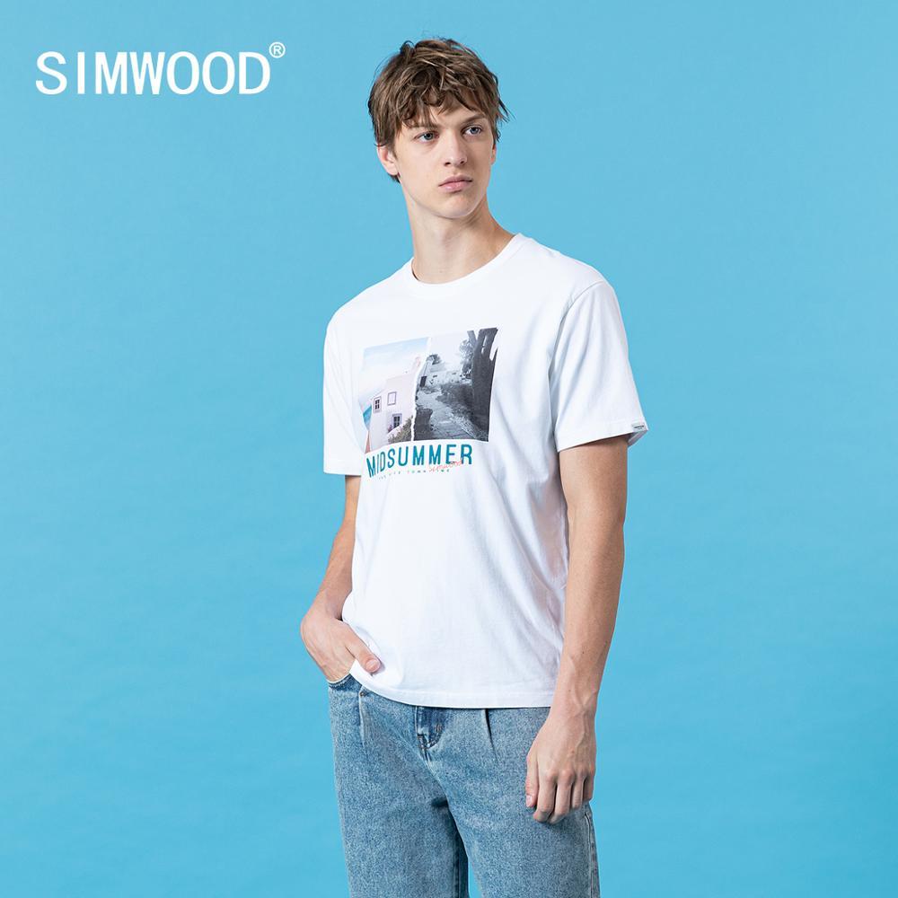 SIMWOOD 2020 novedad de verano, camiseta para hombre con estampado de patrón 100% algodón de talla grande, camiseta de alta calidad, camisetas, ropa de marca SJ170366