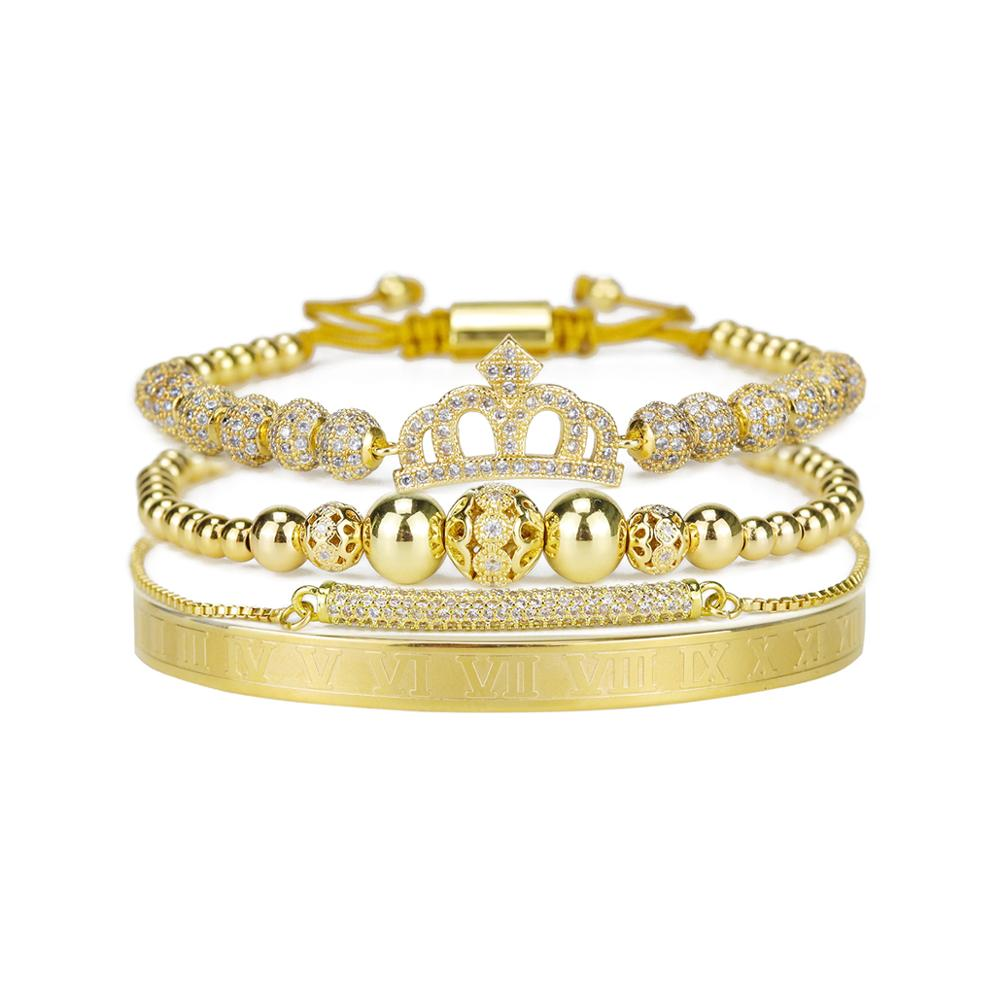 4pcs/set Luxury Women Bracelet Stacks Crown Beads CZ Number Stainless steel bangle Women's bracelets & bangles for Women Jewelry