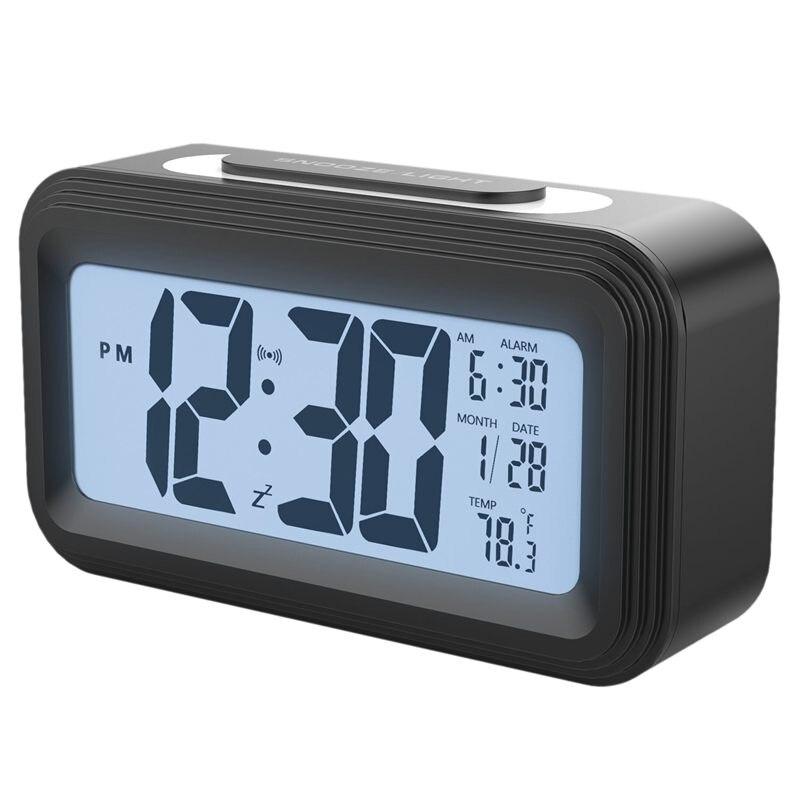 [Version de mise à niveau] réveil à piles, grand écran Lcd électronique réveils numériques avec Snooze, rétro-éclairage, Lig de nuit