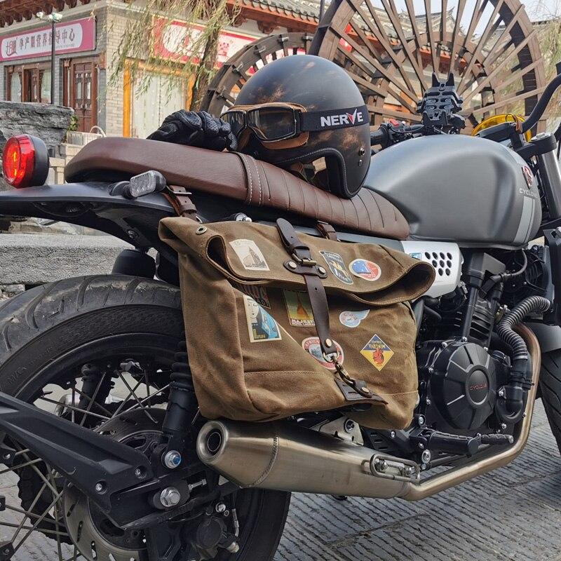 Saco de lona de cera à prova dwaterproof água retro saco do mensageiro ocasional da motocicleta dos homens bolsa de ombro locomotiva lado pacote pobre