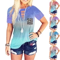 2021 summer new fashion womens clothing loose round neck leopard printing top short sleeve tie dye t shirt