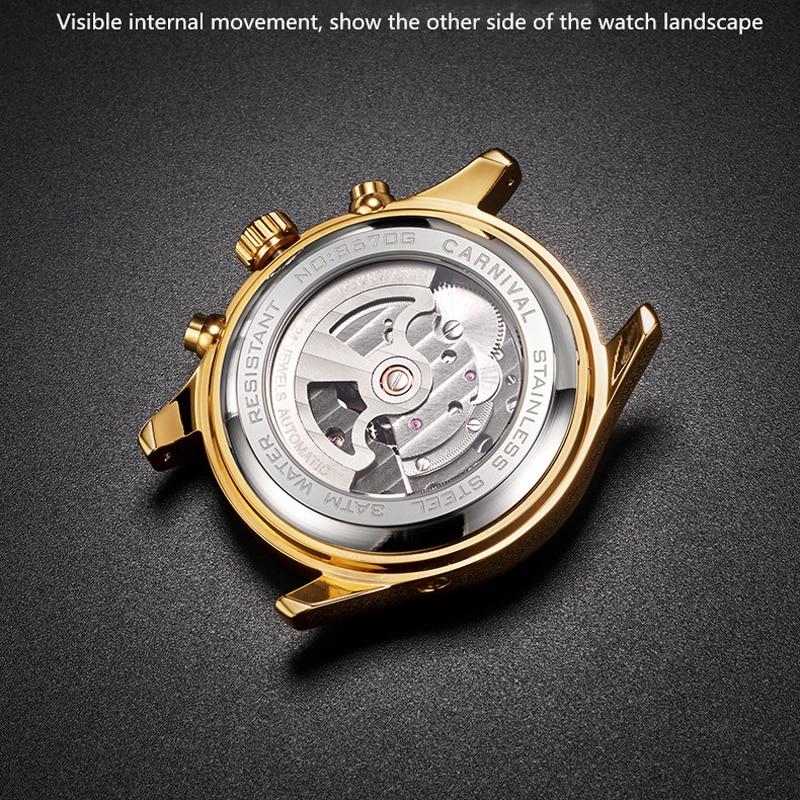 CARNIVAL Fashion Men's Multifunctional Calendar Week Month Display Mechanical Hollow Tourbillon Automatic Watch Relogio Masculin enlarge