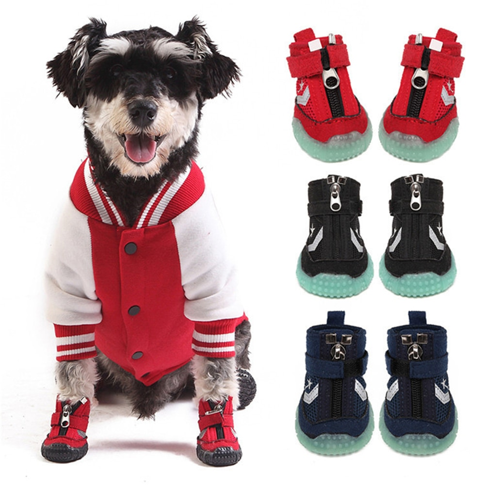Zapatos luminosos para perros antideslizantes, zapatos de goma para correr, patas protectoras, botas para mascotas, calcetines de invierno para gatos, Velcro ajustable