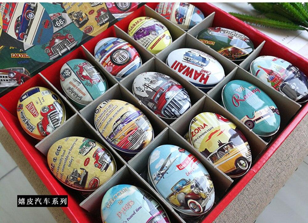 30pc/box Oval Shape Storage Box Vintage Car Printing Small Candy Box Handmade Soap Case Mini Tin Jewelry box Small Pill Case