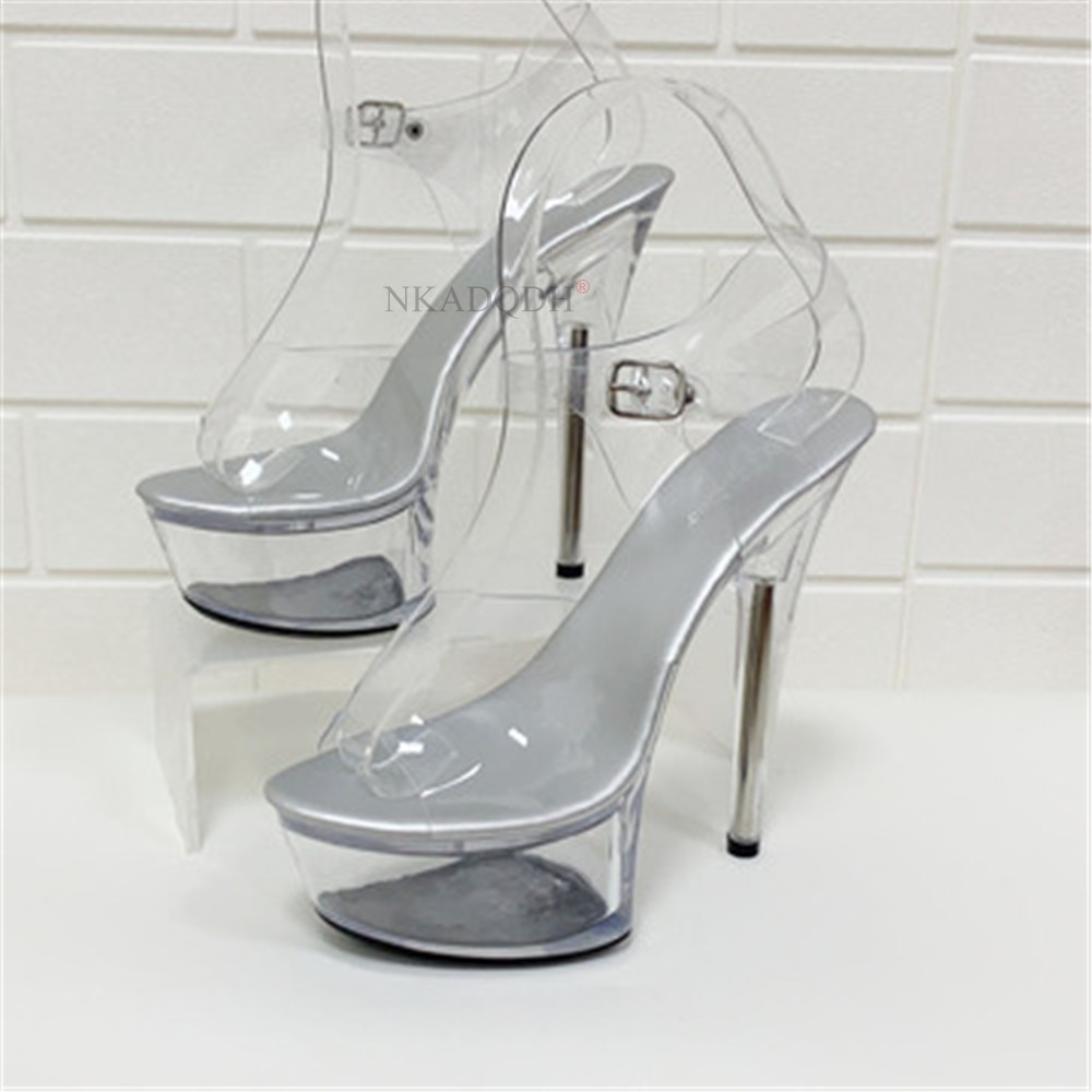 New Sexy Women Sandals High Heels 15cm Summer Lady Transparent Crystal Clear Heel Shoes Model Show Sandals Plus Size 34-43 White