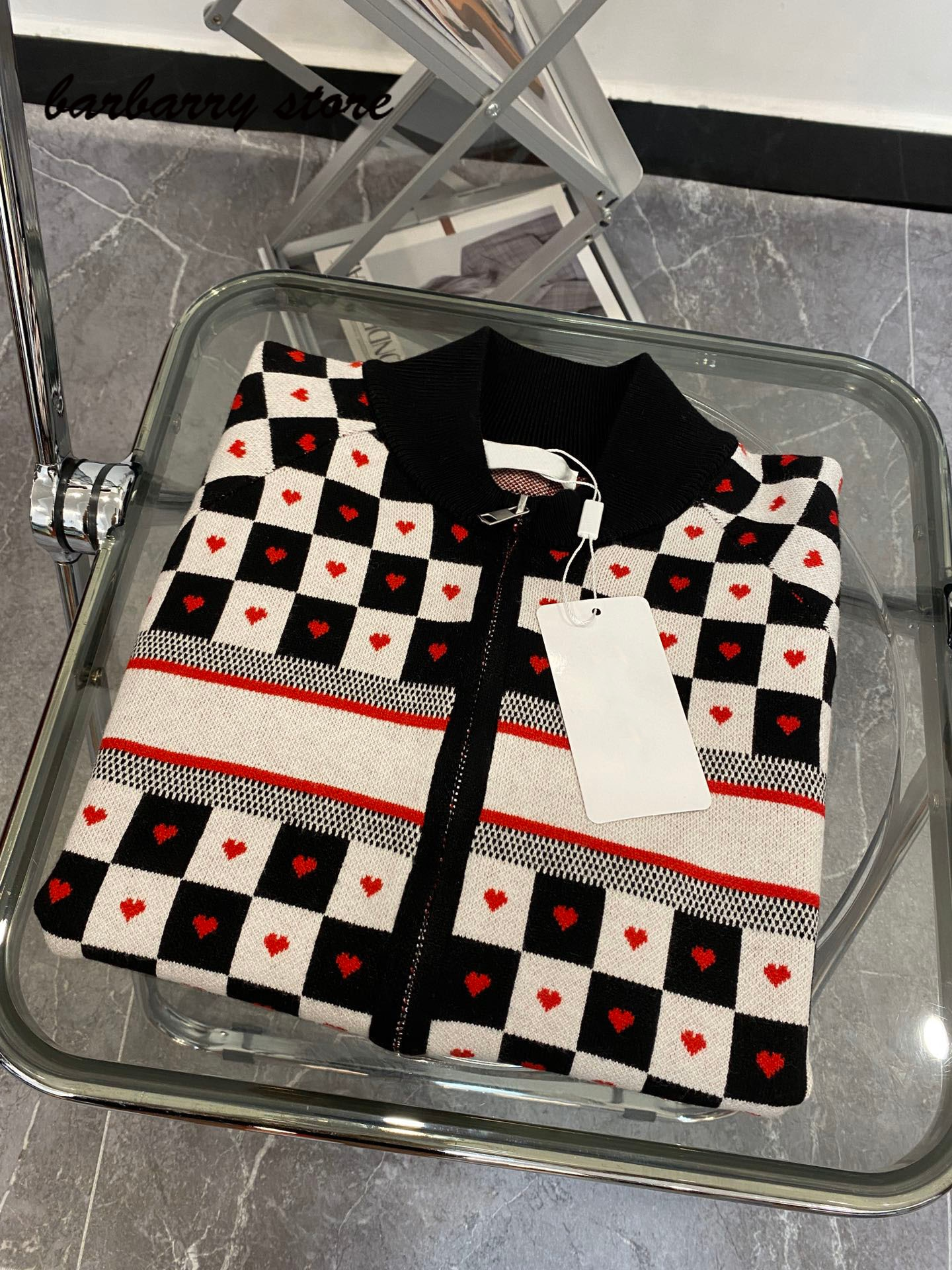 21 luxury design black and white check color contrast fashion women's cardigan love letter temperament versatile knitted jacket enlarge