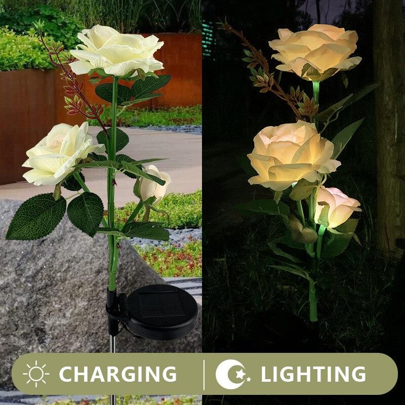Цветочный светильник на солнечной батарее Роза цветок лампа светодиодный солнечный свет садовый Декор Светильник Водонепроницаемый газон...
