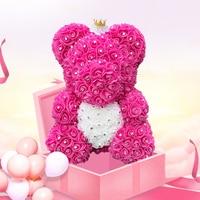 Прямая поставка, подарки на день Святого Валентина, алмазные плюшевые розовые мишки 40 см, искусственные цветочные мишки для девочек, рождес...