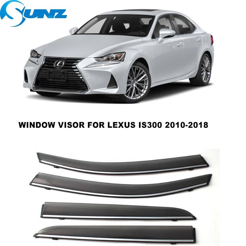 Side Window Deflector For Subaru Legacy Sedan 2010 2011 2012 2013 2014 4pcs Chrome Trim Window Visors Sun Rain Deflectors SUNZ