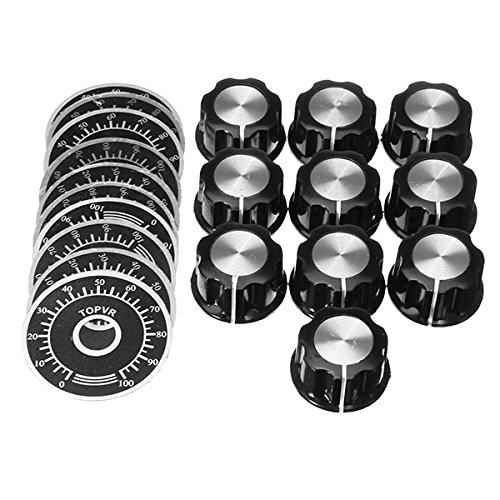 10 Sets Potentiometer Knob Kit MF-A03 Dial Knob + MF-A03 Bakelite Knob With Scale Plate Sheet Scale Digital Potentiometer Set