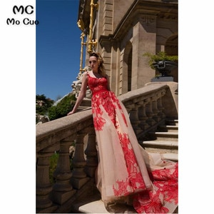 2019 New A-Line Evening Prom dresses with Red Appliques Red Ribbon Vestidos de fiesta Sweep Train Formal Evening Dress