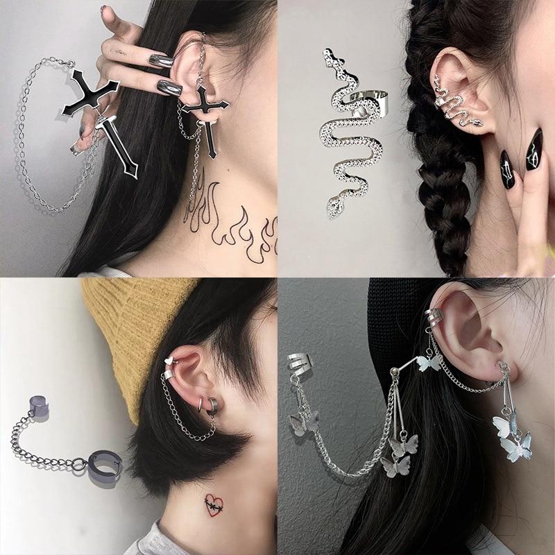 Anting-anting klip kupu-kupu fesyen punk untuk remaja wanita lelaki - Perhiasan fesyen - Foto 1