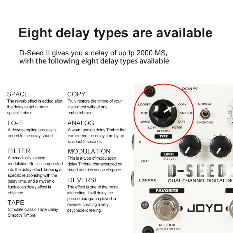 JOYO D-SEED-II Guitar Effects Pedal  Dual Channel Digital Delay Looper Recording  Function Simulation Analog Reverse Effects enlarge