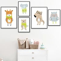 deer elephant bear owl mouse scarf cute cartoon wall art canvas painting nordic posters and prints wall pictures kids room decor