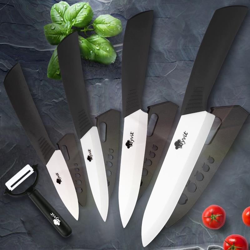 Керамические кухонные ножи, 3, 4, 5, 6, дюймов, набор ножей шеф-повара для приготовления пищи, овощечистка, лезвия из белого циркония, ручки разн...