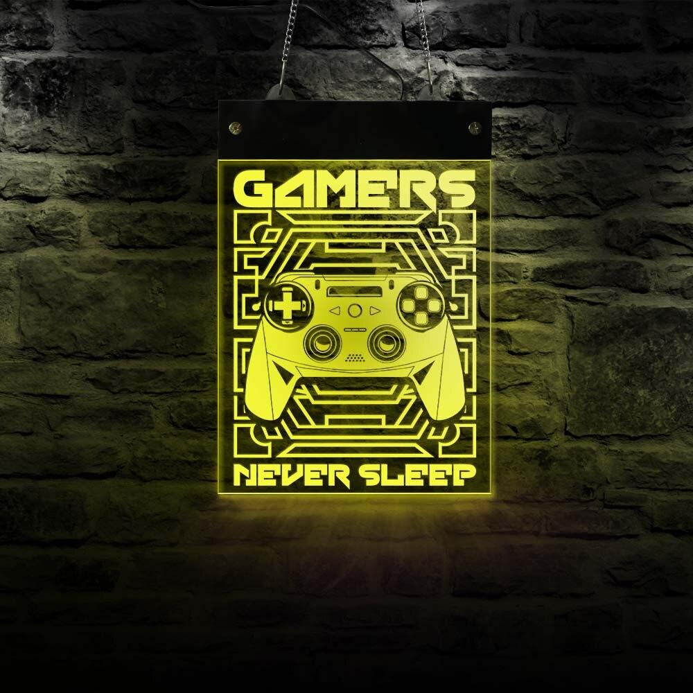 علامة نيون إلكترونية مضيئة للألعاب ، عصا تحكم ، ألعاب فيديو ، شاشة LED ، مصباح حائط معلق
